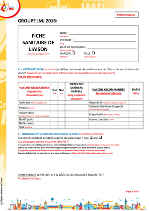 Fiche sanitaire majeur National Page 1