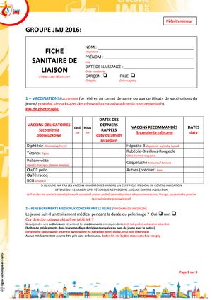 Fiche sanitaire mineur National 1 Page 1